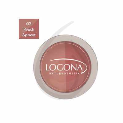 "Colorete en polvo Duo ""Peach + Apricot 02"", Logona"