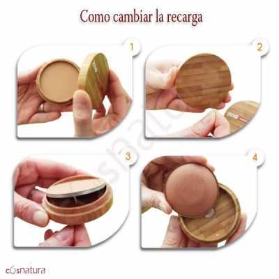 Maquillaje Polvo Compacto Zao Sistema de Recarga