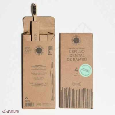 Cepillo Dental Bambú y Carbón Activo Pack4 Irisana
